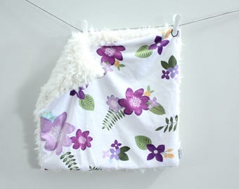 Lavender Floral Lovey Blanket faux fur minky READY TO SHIP baby gift cloud blanket llama newborn gift plush photo prop toddler child