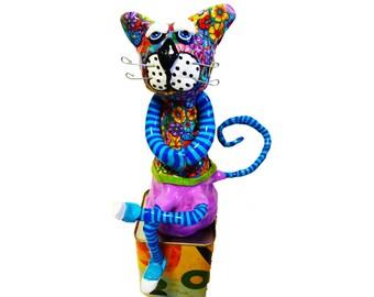 Shelf sitter colorful cat, Cat Sculpture, Cat Art, Cat gifts, Cat lover gifts, Cat Statue, Cat decor, Modern Cat, Cat design, Cat doll, Cats