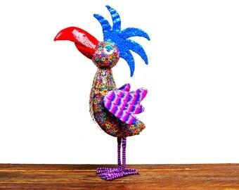 Parrot sculpture, Parrot decorating Parrot decor, original design, Parrot figure, Multicolor polymer clay , metal base ,made in Israel