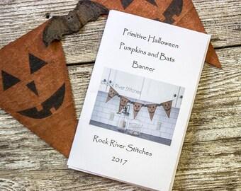 Primitive Halloween Pumpkins and Bats Banner PATTERN, PDF Sewing Pattern, Halloween Pattern, Autumn Pattern, Home Decor