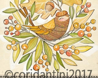 Original Watercolor bird with acorn hat in autumn wreath ON SALE
