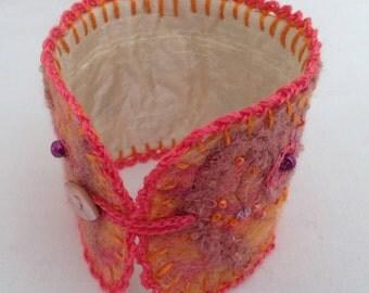 Fibre Art Cuff   Embroidered Cuff   Cuff Bracelet