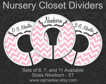 Light Pink Chevron Nursery Closet Dividers, Baby Clothes Organizers, Pastel Pink Decor, Baby Shower Gift, Baby Girl Gift, Zig Zag