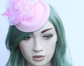 Floral Pastel Pink Mini Side Hat 1950s Style Bridal Attire