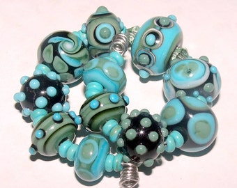 EKR - Lampwork Beads - (11) Turquoise-Sage-Black Bead Set - SRA / Handmade Glass Beads / Beads for Jewelry / Jewelry-making / For Her