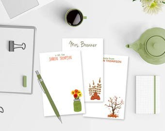 Personalized Fall Notepads - Set of 3 Fall Notepads - Custom Notepads - Autumn Notepads - Set of Fall Notepads for Teachers