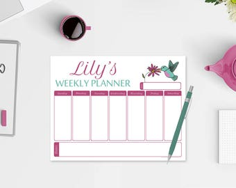 Personalized Weekly Planner Notepad - Hummingbird Planner - Hummingbird Notepad - Weekly Planner Notepad - Hummingbird Planner Notepad