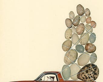Huevos Rancheros. Limited edition collage print by Vivienne Strauss.