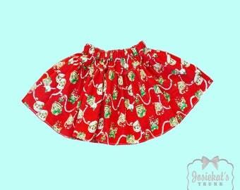 Red Christmas Skirt -Retro Kitty Skirt - Infant Christmas Skirt - Girl Twirl Skirt - Christmas Kitten Skirt -Santa Sizes 6 month - Girl 16