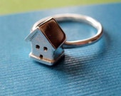 Sterling Silver Ring - Tiny House - Non Traditional Engagement Ring - Statement Ring