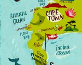 Map Illustration Art Print of Cape Peninsula Cape Town South Africa
