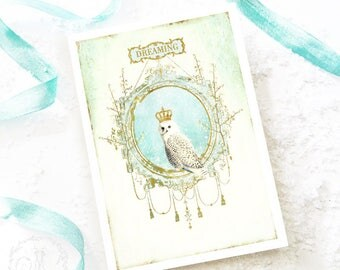 Owl, Christmas card, dreaming, inspirational, vintage style, holiday card, blank inside