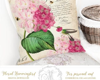 Hydrangea, hummingbird, digital images to print on fabric cards and paper, Iron On Transfer for totes t-shirts pillows home decor