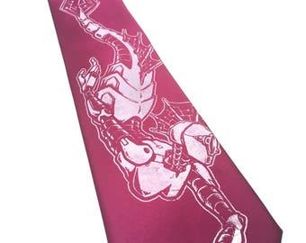 Raspberry Robot Mermaid Necktie -  Purple Fairy Tale Tie - Men's PinkNautical Necktie