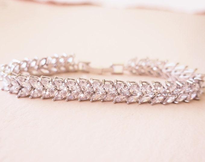 Crystal Wedding Bracelet Silver Cubic Zirconia Leaf Pattern