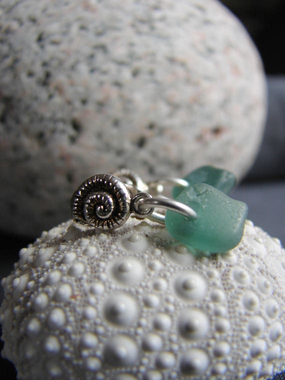 Little Nautilus sea glass earrings in olive green