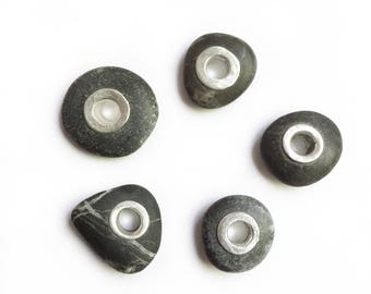 Dark Grey Lake Erie Beach Stone With Sterling Silver Tube Rivet Grommet -  Pick One