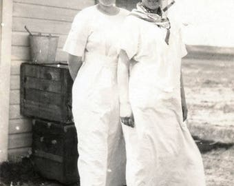 vintage photo 1917 All Dressed Up Women on PRairie Farm Trunks behind Cooks Aprons RPPC