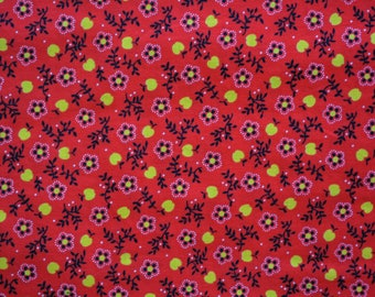 Vintage 70s Boho fabric BTY farm apples harvest fabric red yellow cotton quilting fabric country floral fabric