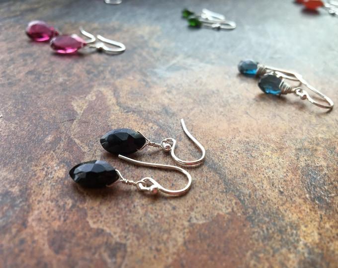 Simple Black Spinel Earrings Marquis Gift LBD Wedding