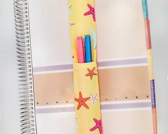 Starfish Print Theme Pretty Pen Pocket Planner Band Pen Holder