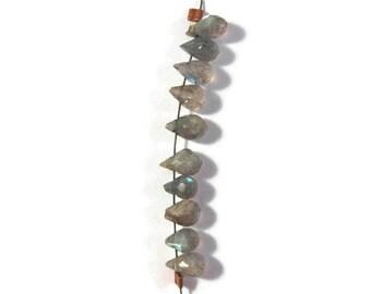 Ten Little Labradorite Briolettes - 7mm x 5mm - 9mm x 5mm, 10 Count of Tiny Flashy Labradorite Briolettes for Making Jewelry (B-Lab3g)