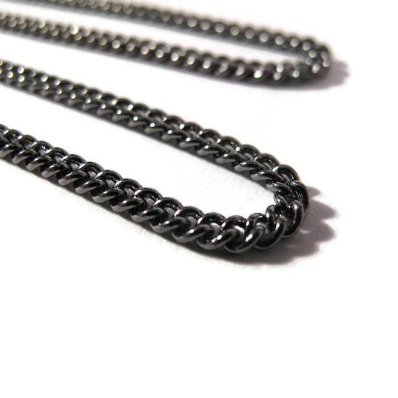 Gunmetal Curb Chain, 3mm Gunmetal Curb Chain, 2 Feet, Dark Black Thin Chain for Making Jewelry (40099149)