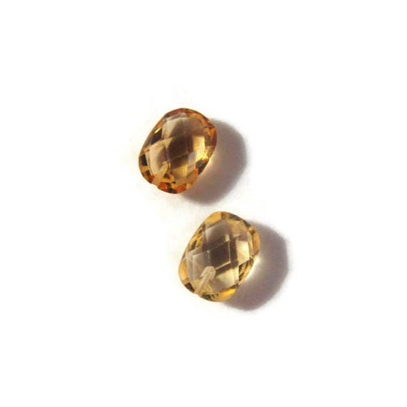 Two Citrine Gemstones, Natural Golden Gemstones, Half Drilled Rounded Rectangles, Matched Pair, 8mm x 6mm (L-Mix9b)