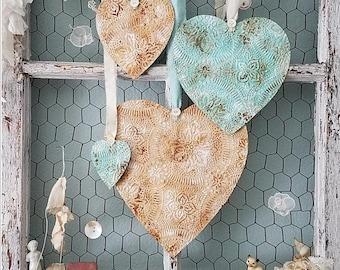 Heart, Set of Hearts, Turquoise Heart, Cream Heart, Faux Tin Ceiling Tiles, Beach Wedding Decor, Vintage Nursery, Shabby Chic Home Decor