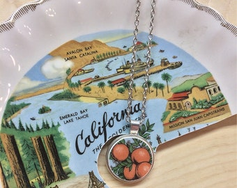 California Oranges Broken Dishware Necklace