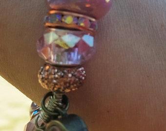 Pink Pandora Bracelet on Leather Bracelet