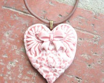 Pale Pink Victorian Heart with Bow Porcelain Pendant