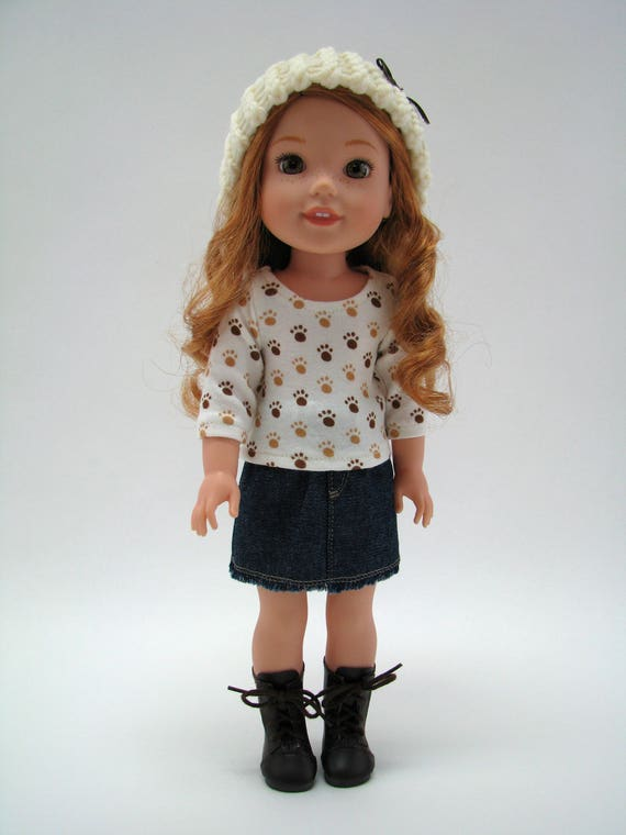 """Fits Like Wellie Wisher - 14 Inch Doll Clothes - 14"""" Doll Top - 14.5"""" Doll Top - Paw Print Top -  American Doll Clothes - A Doll Boutique"""