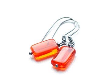 Orange Earrings, Orange Glass Earrings,  Neon Earrings, Summer Earrings, Secret Garden, Neon Wedding, Bridesmaid Gift, Oxidized Silver