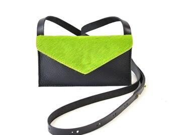 Eve - Handmade Black & Green Leather Cross Body Shoulder Purse Zip Pouch. SS17