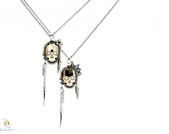 Sweet Jane or Johnny Rotten // Gold Chrome Swarovski Skull and Sterling Silver Pendant, by BellaLili, Welded Silversmith