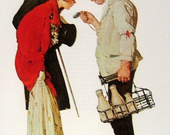 """1977 Large Norman Rockwell Book Plate """"The Milkman and the Young Couple"""""""