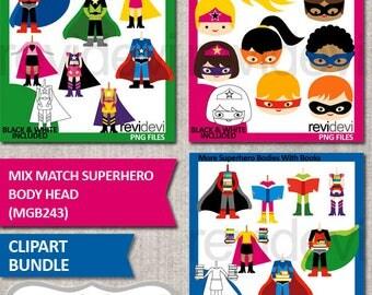 Superhero clipart / mix and match superhero body head bundle clip art / back to school clipart / superhero holding books