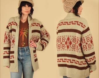 Vintage PENDLETON Sweater // Cowichan Rolled Shawl Collar 60s 70s Knit Wool Big Lebowski The Dude // Large L