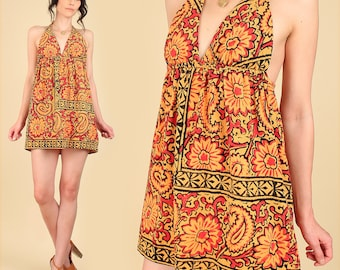 Indian Gauze Cotton Mini Dress ViNtAgE 70's Babydoll Bohemian India Festival Dress Hippie BoHo Gypsy Floral Sunflower S M