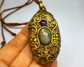 Spiral Steampunk Gemstone Necklace Moss Agate Amethyst Oval Pendant Boho Jewelry Hippie Style Metaphysical Gift