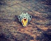 Samhain Coffin Ring Sterling Silver Custom Color Gemstone