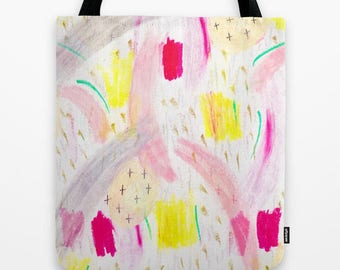 abstract doodles artist designed tote bag-fabric tote- market tote- cute school carry all bag-holiday gift for teen girls
