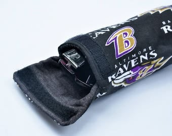 Baltimore Ravens glasses case, sunglasses  pouch, eyeglass cover, reading glasses holder, stocking stuffer gift