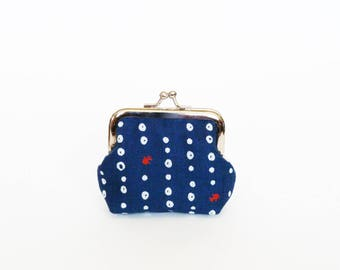 Coin purse, fish fabric, blue white and red fish and bubbles design, cotton purse