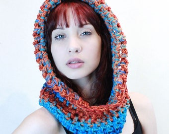 NEW Comet Hood scarf cowl fishermens vegan aqua orange boho