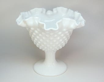 Vintage Fenton milk glass hobnail compote 6 inches high ruffled edge