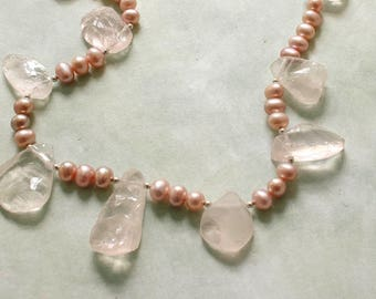 Rose Quartz and Pink Pearl Necklace, Rough Rose Quartz Pearl Necklace, Pink Pearl Wedding Necklace