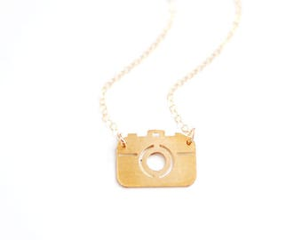 Tiny Camera Necklace | Brass Necklace | Sterling Silver Necklace | 14k Gold Filled Necklace