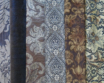 Brown Fabric Pack, Collection...DESTASH SALE, Closeout Clearance...6 home design samplers, remnants,scraps, texture - F17136